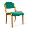 Beech Framed Stackable Side Chair with Upholstered and Padded Seat and Backrest - Aqua