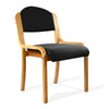 Beech Framed Stackable Side Chair with Upholstered and Padded Seat and Backrest - Black