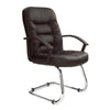 High Back Leather Faced Executive Visitor Armchair with Ruched Panel Detailing and Chrome Cantilever Base - Black