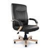 Troon - High Back Leather Faced Executive Chair with Oak Effect Arms & Base