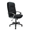 High Back Fabric Executive Armchair with Sculptured Stitching Detail - Black