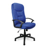 High Back Fabric Executive Armchair with Sculptured Stitching Detail - Blue