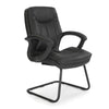 Stylish High Back Leather Faced Visitor Armchair with Upholstered Armrests and Pronounced Lumbar Support - Black