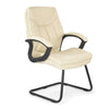 Stylish High Back Leather Faced Visitor Armchair with Upholstered Armrests and Pronounced Lumbar Support - Cream
