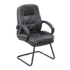 Cantilever Framed Leather Faced visitor Armchair with Contrasting Piping - Black