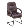 Cantilever Framed Leather Faced visitor Armchair with Contrasting Piping - Burgundy