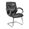 High Back Luxurious Leather Faced Executive Visitor Armchair with Integral headrest and Chrome Base - Black