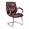 High Back Luxurious Leather Faced Executive Visitor Armchair with Integral headrest and Chrome Base - Brown