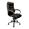 High Back Luxurious Leather Faced Synchronous Executive Armchair with Integral headrest and Chrome Base - Black