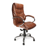 Sandown - High Back Luxurious Leather Faced Synchronous Executive Armchair with Integral headrest and Chrome Base
