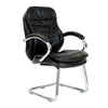 High Back Italian Leather Faced Executive Visitor Armchair with Integral Headrest and Chrome Base - Black