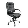 High Back Italian Leather Faced Synchronous Executive Armchair with Integral Headrest and Chrome Base - Black
