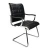 Cantilever Chrome Framed Leather Effect Designer visitor Chair - Black