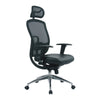 High Back Mesh Executive Armchair with Adjustable Headrest And Chrome Base - Black