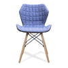 Stylish Lightweight Fabric Chair with Solid Beech Legs and Contemporary Panel Stitching - Mustard