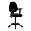 Medium Back Operator Chair - Twin Lever with Fixed Arms - Black