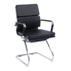 Bonded Leather Medium Back Visitor Armchair with Individual Back Cushions and Chrome Arms & Base - Black