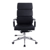 Bonded Leather High Back Swivel Armchair with Individual Back Cushions and Chrome Arms & Base - Black