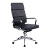 Avanti - High Back Bonded Leather Armchair with Individual Back Cushions and Chrome Arms & Base - Black