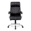 High Back Leather Faced Manager Chair with Satin Silver Finish to Armrests and Base - Black