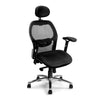 High Back Mesh Synchronous Executive Armchair with Adjustable Lumbar Support, Arms, Headrest and Chrome Base - Black