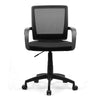 Beta  - Medium Back Mesh Chair with Contoured Back and Upholstered Black Fabric Seat with Waterfall Front - Black