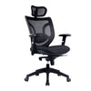 High Back Mesh Synchronous Executive Armchair with Integral Headrest - Black