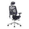 High Back Mesh Synchronous Executive Armchair with Adjustable Headrest and Chrome Base - Black