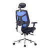 High Back Mesh Synchronous Executive Armchair with Adjustable Headrest and Chrome Base - Blue/Black