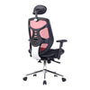 High Back Mesh Synchronous Executive Armchair with Adjustable Headrest and Chrome Base - Red/Black