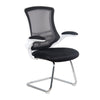 Designer Medium Back Mesh Cantilever Chair with White Shell, Chrome Frame and Folding Arms - Black
