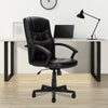 High Back Leather Effect Executive Armchair with Integral Headrest - Black
