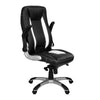 Friesian - High Back Executive Chair with Folding Arms and Satin Chrome Base - Black and White