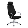 Atlas - High Back Leather Effect Designer Executive Chair with Headrest, Chrome Armrests and Chrome Base