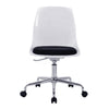 Flow - Designer Poly Swivel Chair with White Shell and Chrome Base