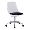 Designer Poly Swivel Chair with White Shell and Chrome Base