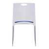 Kore - Stylish Stackable Chrome Frame Chair with Padded Upholstered Seat, White Shell and Hand Hole in Backrest - 2 per Box