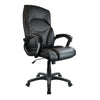 Wellington - High Back Leather Effect Executive Armchair with Silver Detailed Black Nylon Base - Black