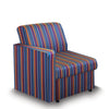 Contemporary Modular Fabric Low Back Sofa - Right Hand Arm - Stripes