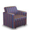 Contemporary Modular Fabric Low Back Sofa - Armchair - Stripes