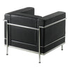 Belmont - Contemporary Cubed Leather Faced Reception Chair with Stainless Steel Frame and Integrated Leg Supports - Black