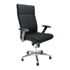 High Back Synchro Executive Armchair with Adjustable Arms And Chrome Base - Black
