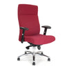 High Back Synchro Executive Armchair with Adjustable Arms And Chrome Base - Wine