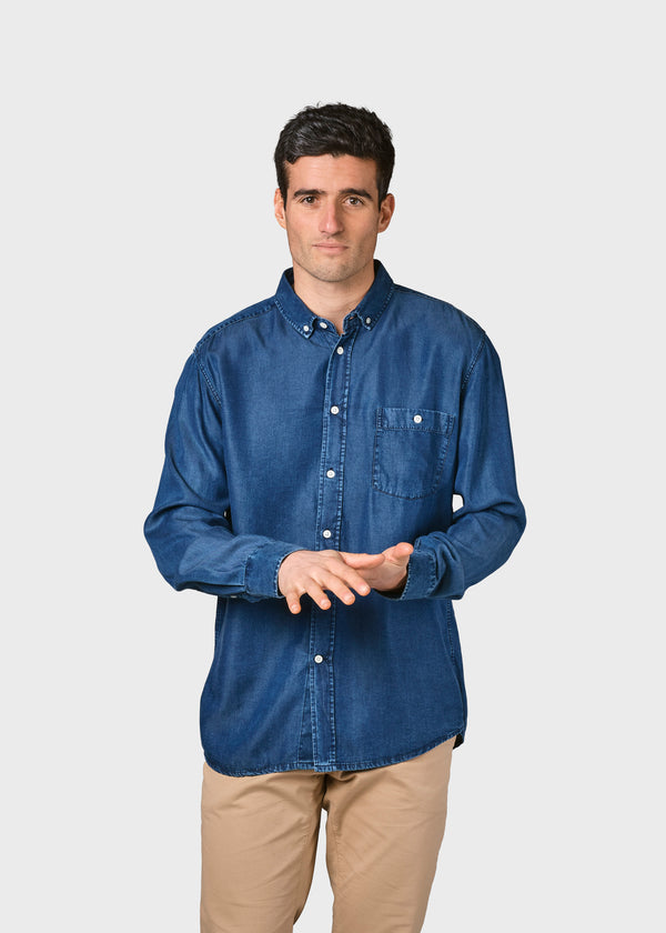 Klitmøller Collective ApS Benjamin chambrey shirt Shirts Dark blue