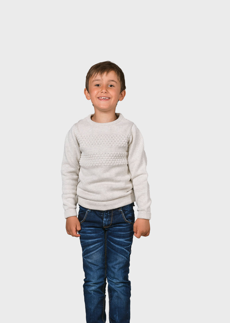 Klitmøller Collective ApS Kids fisher cotton knit Knitted sweaters Cream
