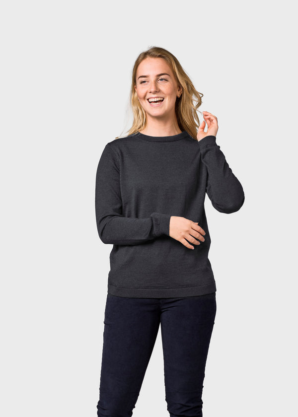 Klitmøller Collective ApS Womens basic merino knit Knitted sweaters Anthracite