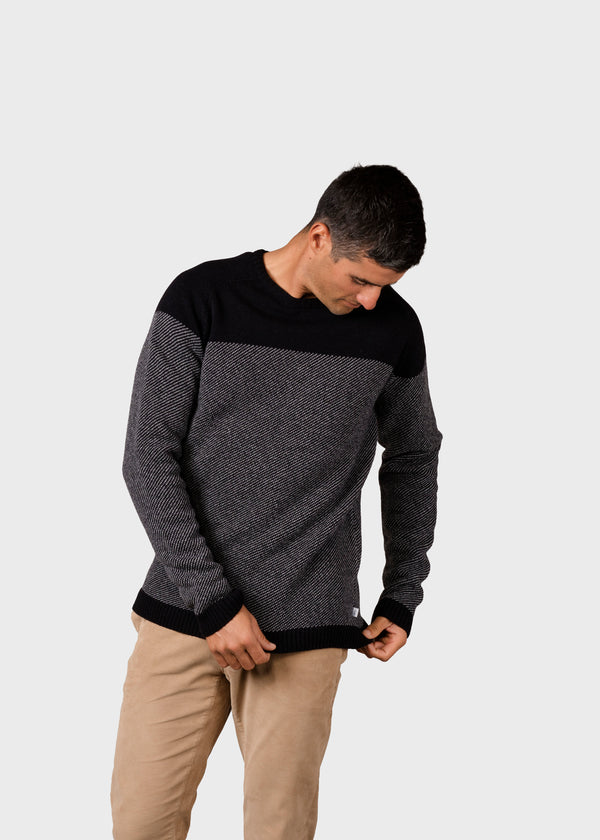 Klitmøller Collective ApS Jesper knit Knitted sweaters Black/light grey