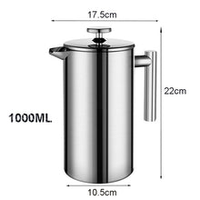 Load image into Gallery viewer, Coffee Maker French Press Stainless Steel Espresso Coffee Machine High Quality Double-Wall Insulated Coffee Tea Maker Pot 1000ml