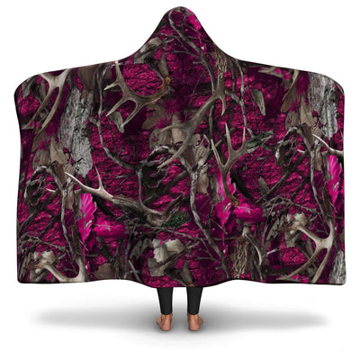Pink Camouflage Hooded Blanket