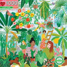 Lade das Bild in den Galerie-Viewer, Plant Ladies Puzzle von Eeboo Piece & Love mit Frauen, die sich in einem Gewächshaus um die Blumen und Pflanzen kümmern, 1000 Teile